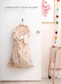 pillowcas, embroideri hoop, organizing ideas, tiny bedrooms, hamper, kid rooms, dorm organization, laundry baskets, embroidery hoops
