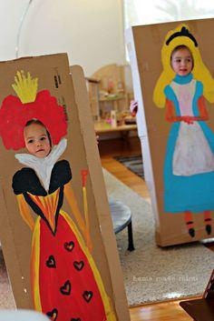 Alice in Wonderland tea party, un-birthday, mad tea party, kids birthday party, face-in-holes