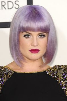 Conservative bob cut with blunt bangs on Kelly Osbourne.