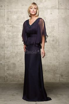 Elegant Sheath Mother of the Bride Dress with Cape