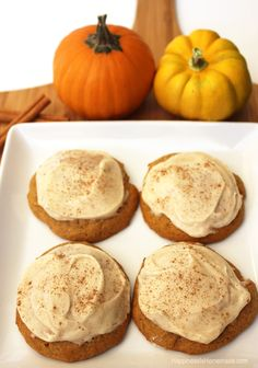 YUM! These are amazing! Pumpkin Spice Cookies Topped With Cinnamon Cream Cheese Icing #FreshFinds #shop dessert tables, pumpkin cookies with icing, pumpkin spice cookies, cooki top, food coloring
