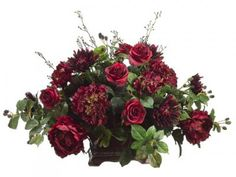 "Silk Roses and Hydrangeas with Raspberries are gorgeous together. This center piece will really give a dull room color. 23H34W32""L"