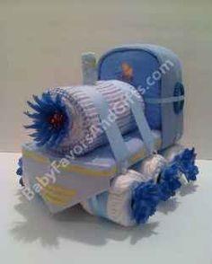 Choo Choo Train diaper cake  Choo Choo Train Baby Shower Theme  Train Baby Shower Theme Idea  Classic for the little baby boy or baby girl baby shower!  Fun...