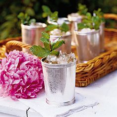 mint juleps, silver drinkware and peonies