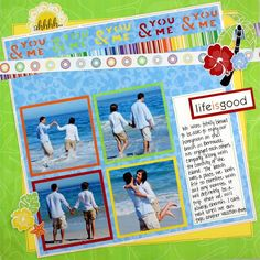 Cheerful Tropical You & me Border Cartridge Scrapbook Layout