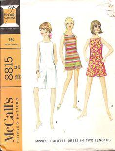 Vintage 1960s Vintage Sewing Pattern Culotte Dress McCalls 8815