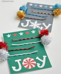 Your little ones can put a festive twist on DIY hair accessories by making these Holiday Hairpins. The holiday season is all about cheerfulness, and nothing spreads cheer like fun kids' Christmas crafts like this one.   AllFreeKidsCrafts.com