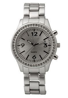 Silver-colored Embellished Boyfriend Watch (original price, $20) available at #Maurices