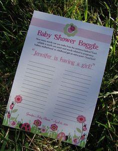 Baby shower games printable: Baby Name Game Baby Boggle #girl #boy #pink #ladybug