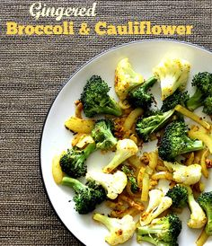 Gingered Broccoli  Cauliflower - a side dish that finally got my husband start eating cauliflower and broccoli! #vegan #plantbased #side #dish #vegetarian | www.veganrunnereats.com