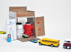 DIY Cardboard Car Wash, cardboard toy for kids
