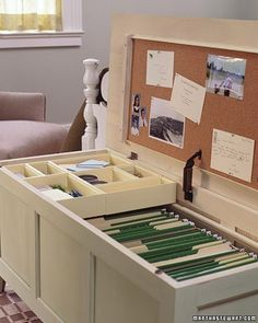 Office in a Chest    Transform a traditional piece of bedroom furniture into a multitasking mini office, complete with bulletin board and filing cabinet. You'll have easy access to all your essentials -- and be able to tuck them away at a moment's notice. It requires only minimal construction to reconfigure a chest.    Martha Stewart Living, August 2006