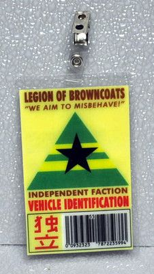 Firefly Serenity Browncoats Vehicle ID Parking Permit    (the link will likely stop working soon...as this is from an ebay auction...)