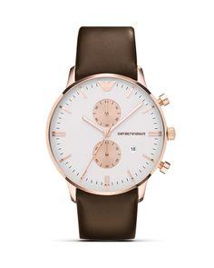 Emporio Armani Two Tone Brown Leather Strap Watch,