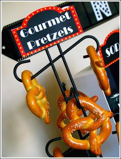 Use a coffee mug holder as a pretzel tower. A great addition to your Upward Sports concession stand!