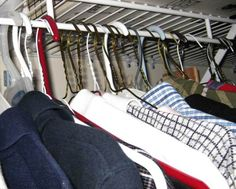 Hang all your clothes so your hangers face backward. When you wear something, turn the hanger around. After a year, if something is still on a backward hanger, give it away. :: I think it's time...