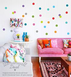 NEW Colorful Polka Dots Wall Decal - Removable Wall Sticker - Easy to install for instant wall makeover - suitable for kids room or nursery
