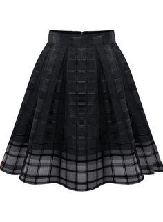 chiffon skirt, black zipper, zipper plaid