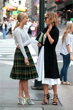 Plaid skirt and a white midi skirt. #skirt #midiskirt #fullskirt