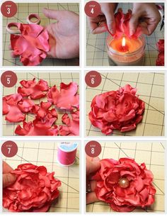 Fabric Flowers: Fabric Flowers Love this...would be beautiful to add to wedding decor, baby hats, bags, scarves...whatever. I already have a hundred uses in my head! Flower Headbands Diy, Diy Flowers Fabric, Fabric Flowers, Diy Tutorial, Flowers Diy Fabric, Flower Ideas, Baby Hats, Diy Fabric Bows, Fabric And Bead Flowers