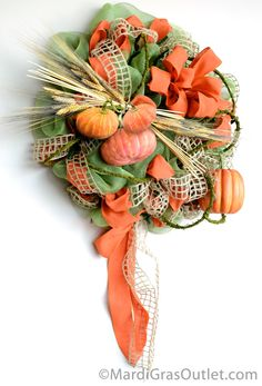 Fall Pumpkin Wreath DIY video tutorial, decor project with Work Wreaths and Deco Mesh