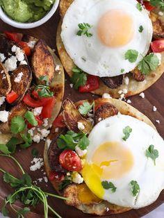 Breakfast Tostadas with Cumin-Roasted Fingerling Potatoes