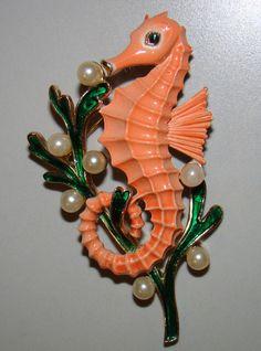 Trifari enamel and pearl seahorse brooch