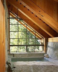 stone bath, beautiful window.