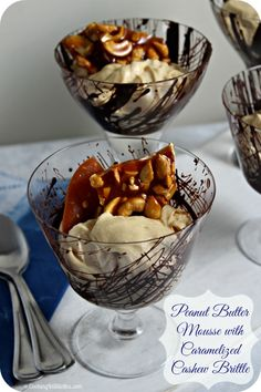 Peanut Butter Mousse with Caramelized Cashew Brittle | Cooking In Stilettos http://cookinginstilettos.com/peanut-butter-mousse-with-caramelized-cashew-brittle/ #GrabSomeNutsDay