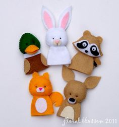 Woodland Creatures 02 Felt Finger Puppet - $ pattern.  Love the mallard!
