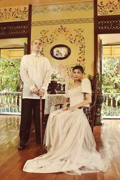 National Costume: BARONG TAGALOG for Filipino (men) and BALITAWAK SAYA for Filipina (women)#Pin By:Pinterest++ for iPad#