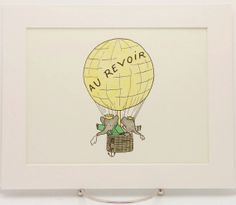 French Nursery Decor Art, Au Revoir, Babar the Elephant, Hot Air Balloon Nursery Art (8x10 Vintage Matted or Mounted Print) $10