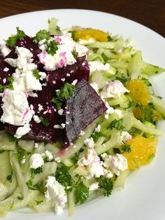 Fennel and Orange Slaw with Roasted Beets and Goat Cheese - The Lemon Bowl #glutenfree #beets #sidedish