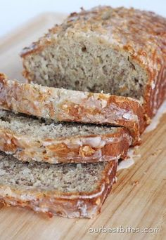 coconut banana bread with lime glaze.