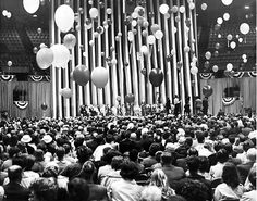 Crowds and balloons greet Richard and Pat Nixon at the City Auditorium in Omaha on May 4, 1968. Richard Nixon spoke while campaigning for president in Nebraska. THE WORLD-HERALD