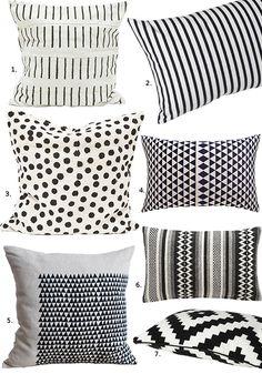 1. Fine Little Day Lines Pillow, $69; 2. Unison Sailor Small Rectangle Pillow, $40; 3. Fine Little Day Dotty, $69; 4. Sakana Pillow, $39.95; 5. Pillow Square, $45; 6. Varanasi 8″ x 12″ Pillow, $24.95; 7. Lappljung Ruta Pillow, $10