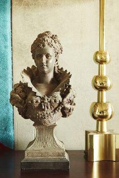 Antique statue head and gold lamp. #ParachuteMarket