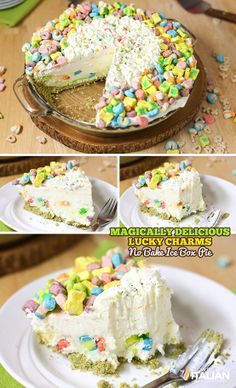 Lucky Charms No-Bake Ice Box Pie is Magically Delicious!  This fairytale pie all starts with a Lucky Charms pie crust topped with an enchanted confetti cloud pie filling.  This recipe is unlike anything you have ever had before. #iceboxcake #nobake #StPatricksDay CLICK 4 RECIPE --> http://www.theslowroasteditalian.com/2014/03/lucky-charms-no-bake-ice-box-pie-recipe.html