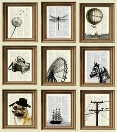 homemade art! just get an old encyclopedia from a thrift store and print digital images onto them and frame!