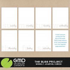 Project Life ~ Journaling cards