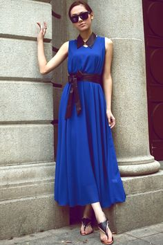 V-neck Maxi Chiffon Dress with Collar and Belt