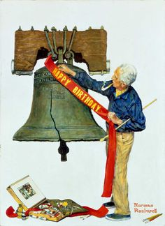 Norman Rockwell (1894-1978)| Liberty Bell (Celebration), 1976 | Cover illustration for American Artist (July 1976) |Oil on canvas | Norman Rockwell Museum Collection