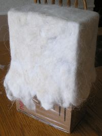 wet felted bag using a box as a guide!!