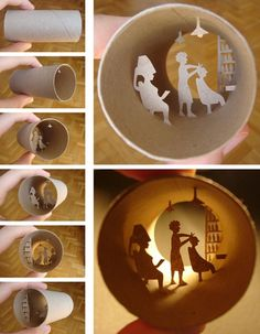Toilet paper roll art with delectable little cut-out scenes from a French artist.