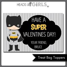 Personalized Valentines Day Batman Cards or Treat Bag Toppers by HeadsUpGirls, $5.00