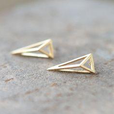 3D triangle earrings