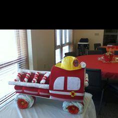 fire truck diaper cake @Greta Clinton-Selin Clinton-Selin Clinton-Selin Nechvatal make me a nephew someday!
