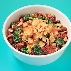 Chili & Chips 1 cup canned turkey (Maybe chicken?) 1 1/2 cups frozen broccoli 3 Tbsp cheddar cheese 1/4 cup corn chips  Microwave meat then top with chips and cheese.
