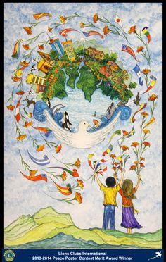 Merit Award Winner, Mónica Ferrin, from Ecuador (Portoviejo Lions Club) - 2013-2014 Lions Clubs International Peace Poster Contest