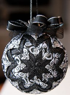 Quilted Christmas Ornament Ball/Black and by YouniqueOrnaments, $25.00
